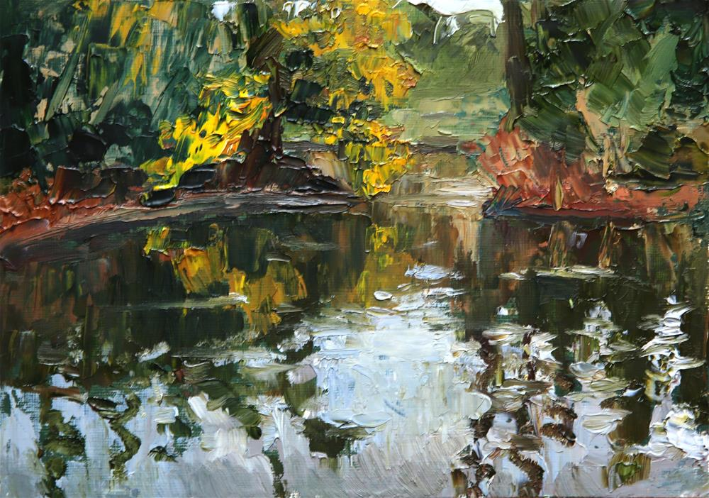 """Kew Pool"" original fine art by Jethro Knight"