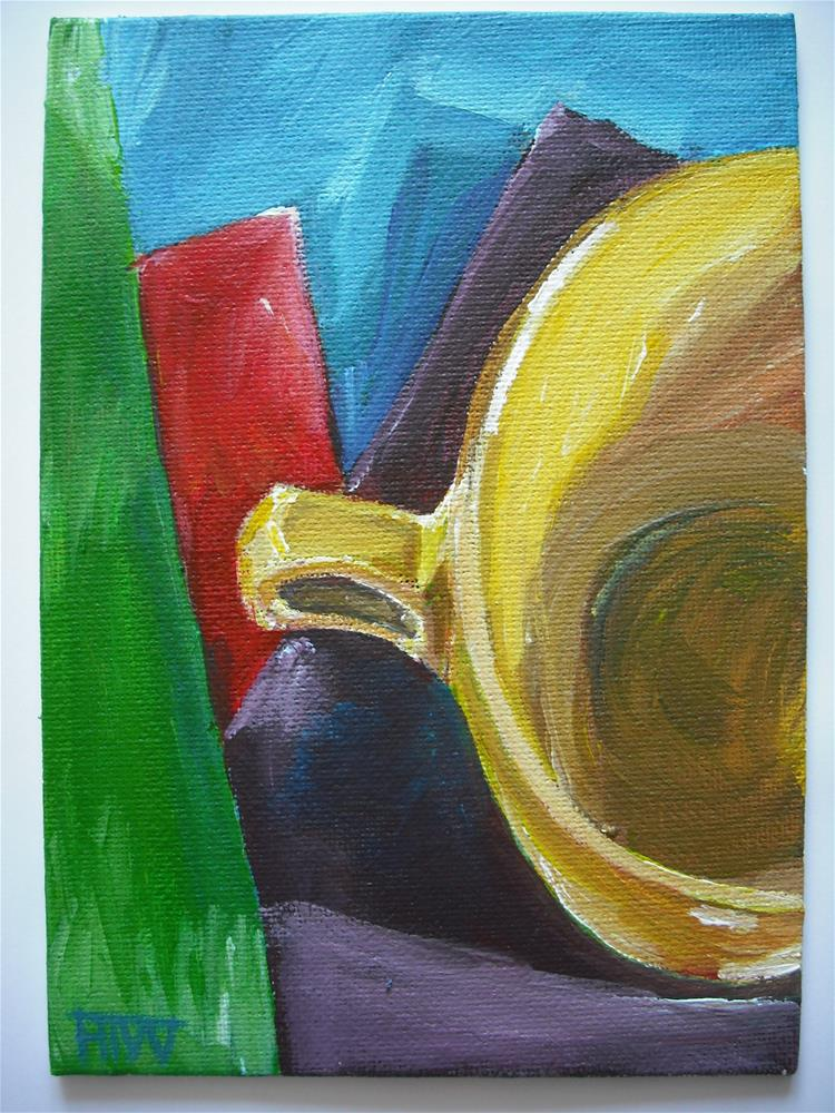 """""""Yellow Cup - Half Empty"""" original fine art by Heather Whiting"""