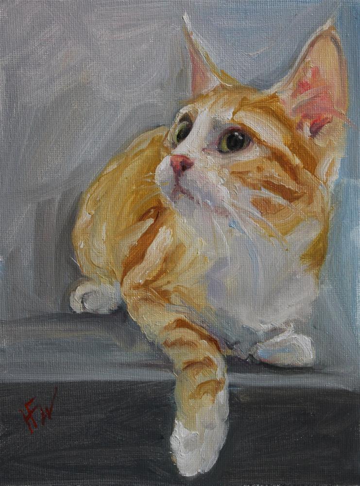 """""""Orange Kitty"""" original fine art by H.F. Wallen"""