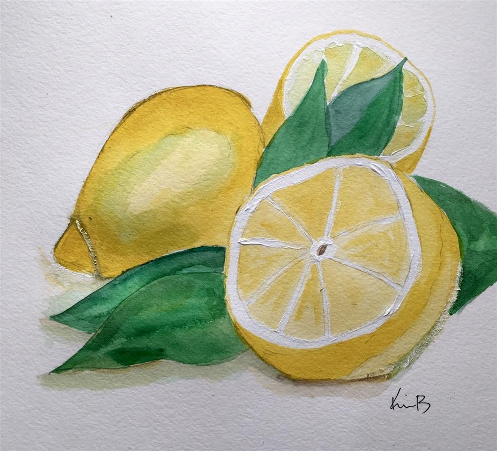 """Lemons #16 - 30 Paintings in 30 Days"" original fine art by Kimberly Balentine"