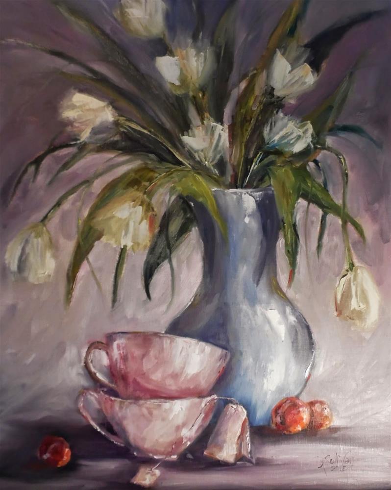 """Almost Tea Time still life floral painting by Alabama Artist Angela Sullivan"" original fine art by Angela Sullivan"