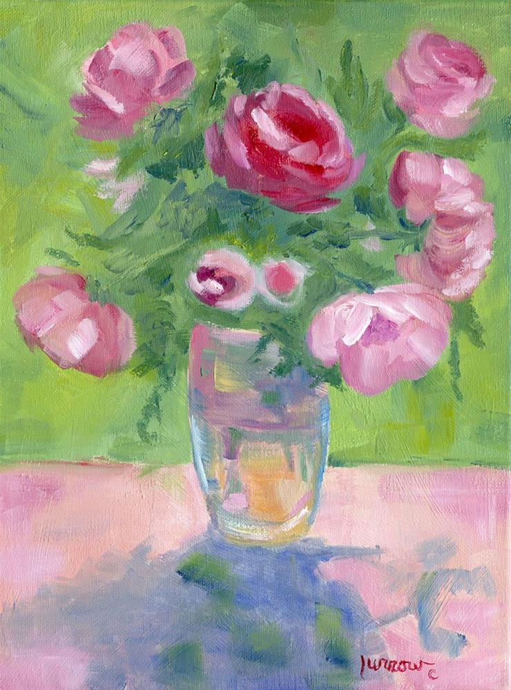 """ORIGINAL OIL PAINTING OF PINK GARDEN ROSES ON ETSY NOW"" original fine art by Sue Furrow"