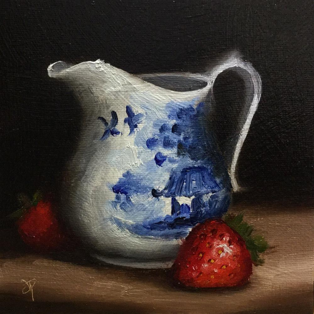 """Jug with Strawberry"" original fine art by Jane Palmer"