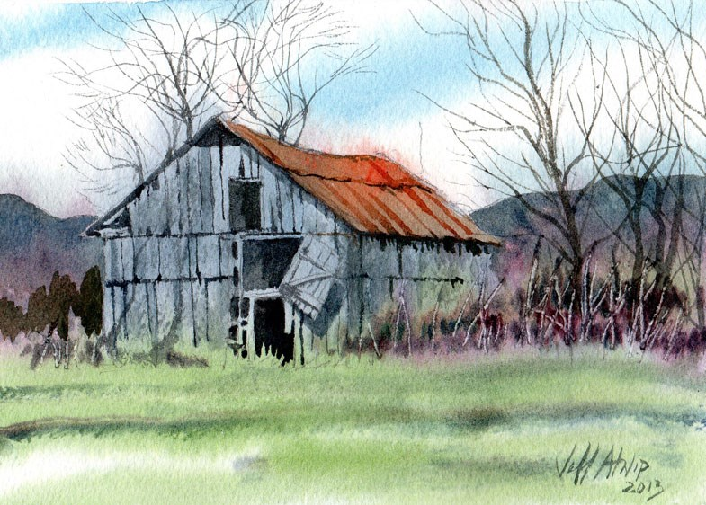 """Gray Barn"" original fine art by Jeff Atnip"