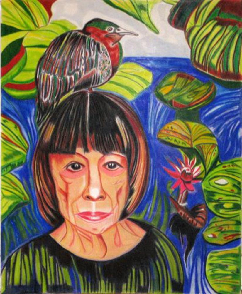"""Joan Didion and the Great Green Heron of Grief"" original fine art by Terri Brown-Davidson"