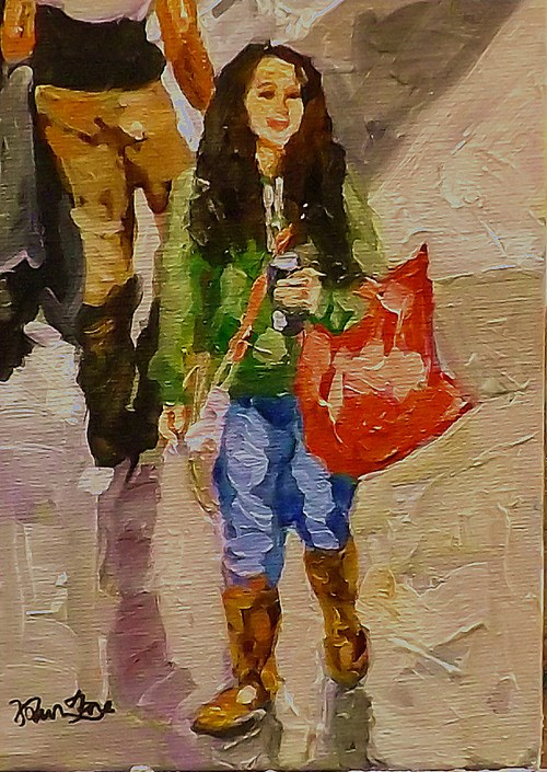 """SHOPPING"" original fine art by Run-      Zhang Zane"
