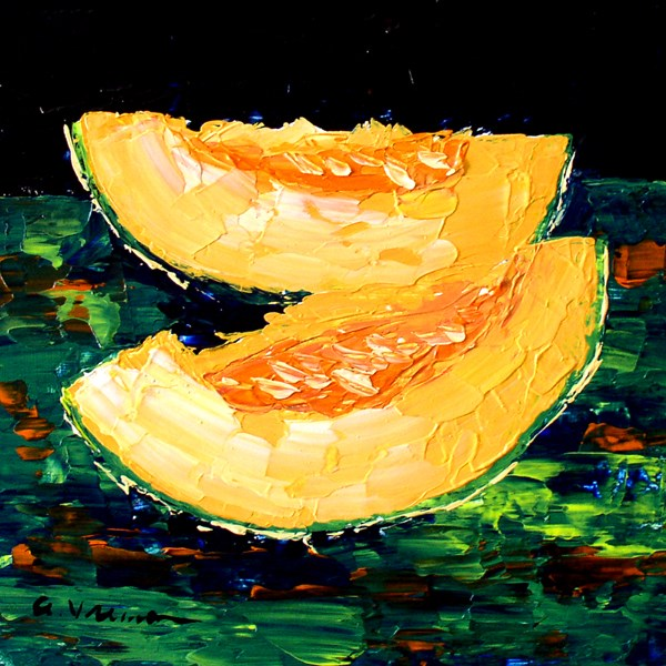 """Cantaloupe on Green"" original fine art by Anna Vreman"