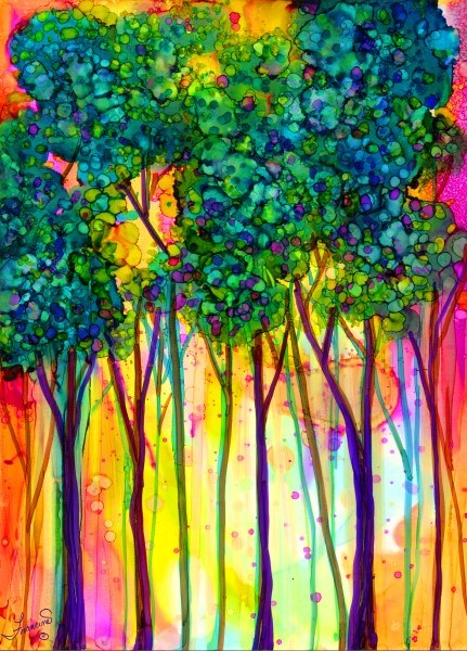 """Happy Trees"" original fine art by Francine Dufour~Jones"