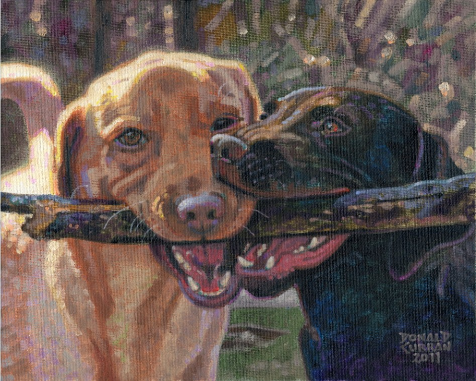 """Dog Buddies"" original fine art by Donald Curran"