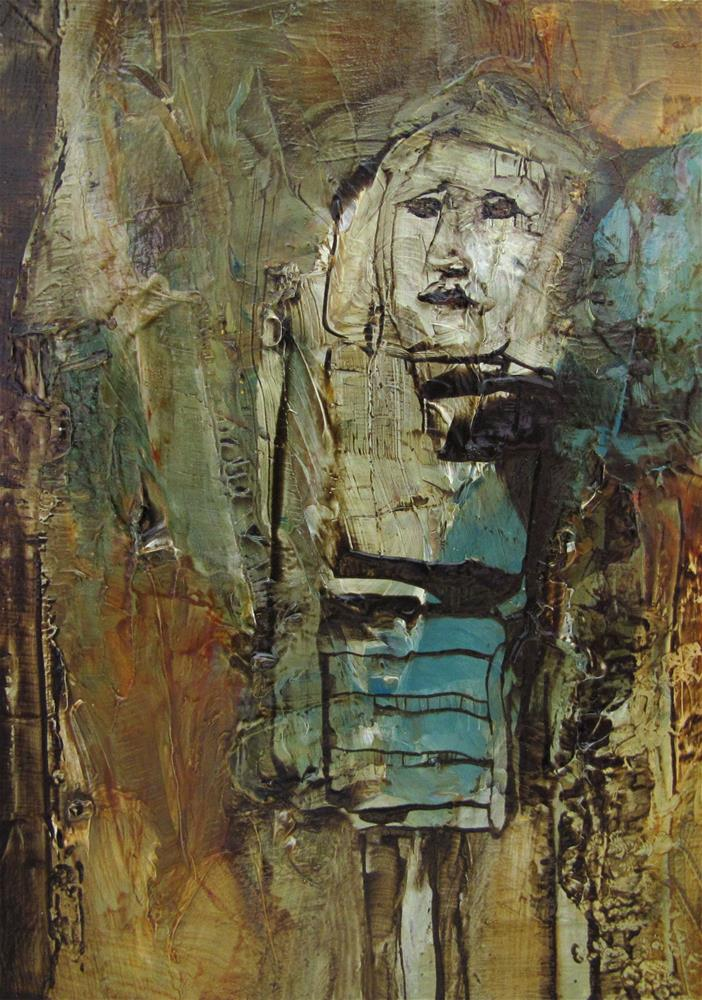 """THE WHISPER Original ACEO ABSTRACT FIGURE PORTRAIT Art Painting OIL"" original fine art by Colette Davis"