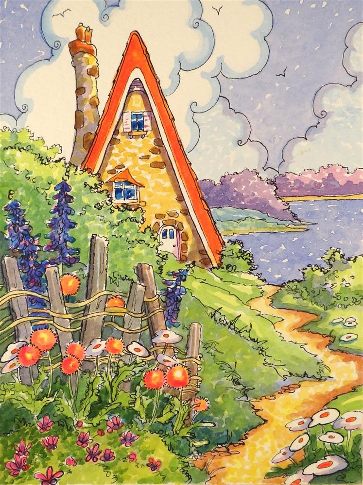 """""""Last Days of a Lakeside Summer Storybook Cottage Series"""" original fine art by Alida Akers"""