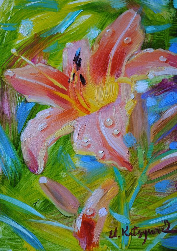 """Lily After Rain"" original fine art by Elena Katsyura"