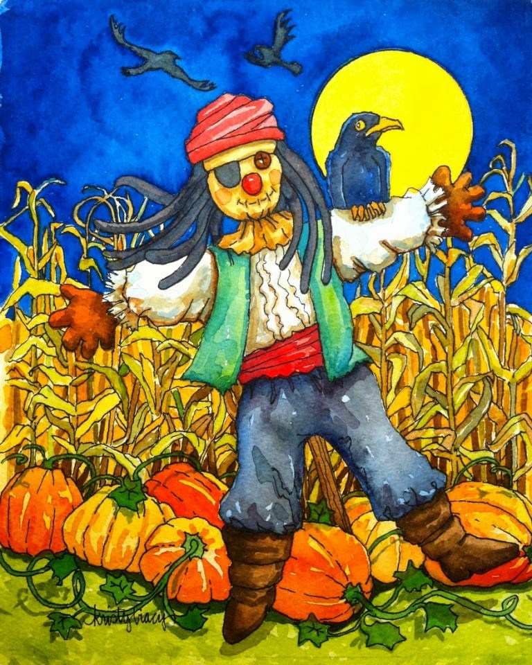 """YO HO SCARECROW"" original fine art by Kristy Tracy"