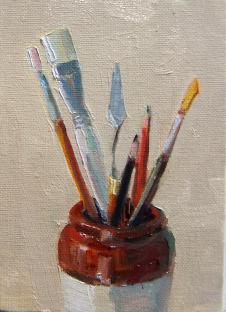 """Jug Full,still life,oil on canvas,7x5,price$200"" original fine art by Joy Olney"