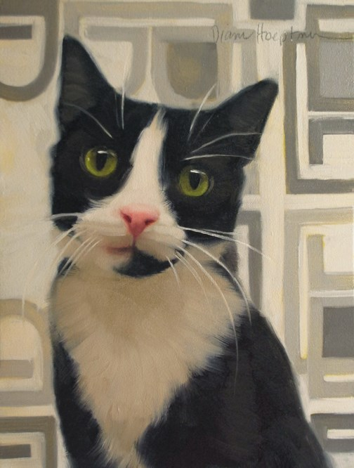 """I'm Listening police car kitteh, cat painting"" original fine art by Diane Hoeptner"