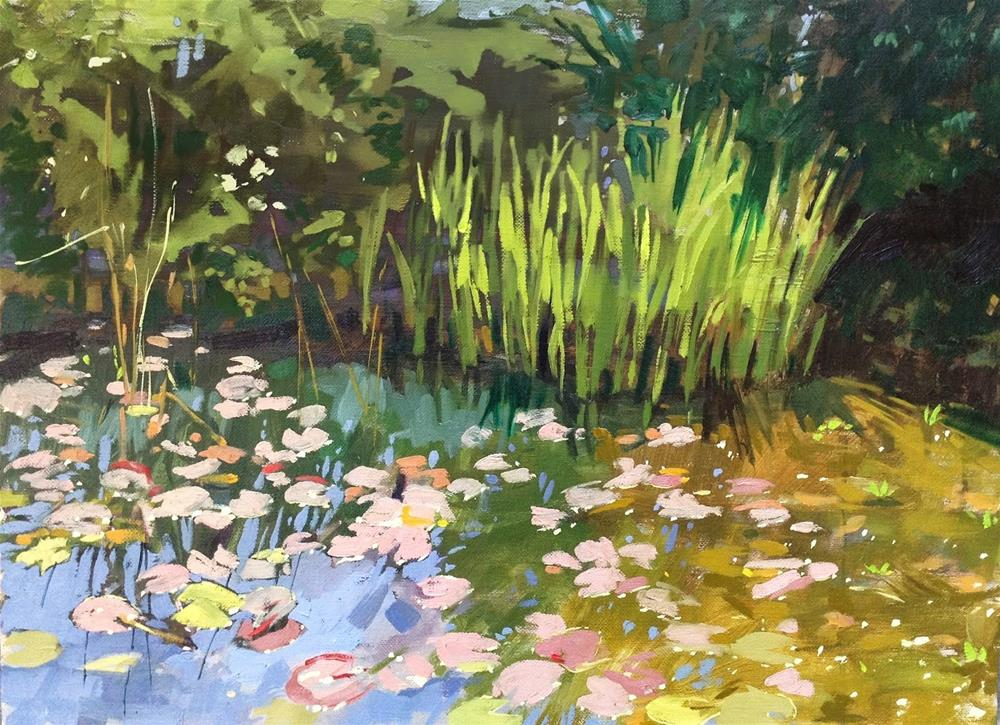 """Carp pond at Gunby Hall"" original fine art by Haidee-Jo Summers ROI"