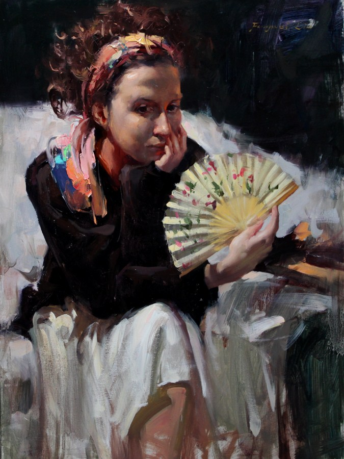 """Girl With Fan"" original fine art by Fongwei Liu"