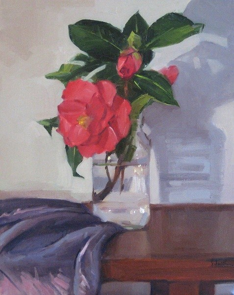"""Red Camellia and Shadow floral painting still life wall art home decor original oil painting on ca"" original fine art by Sarah Sedwick"