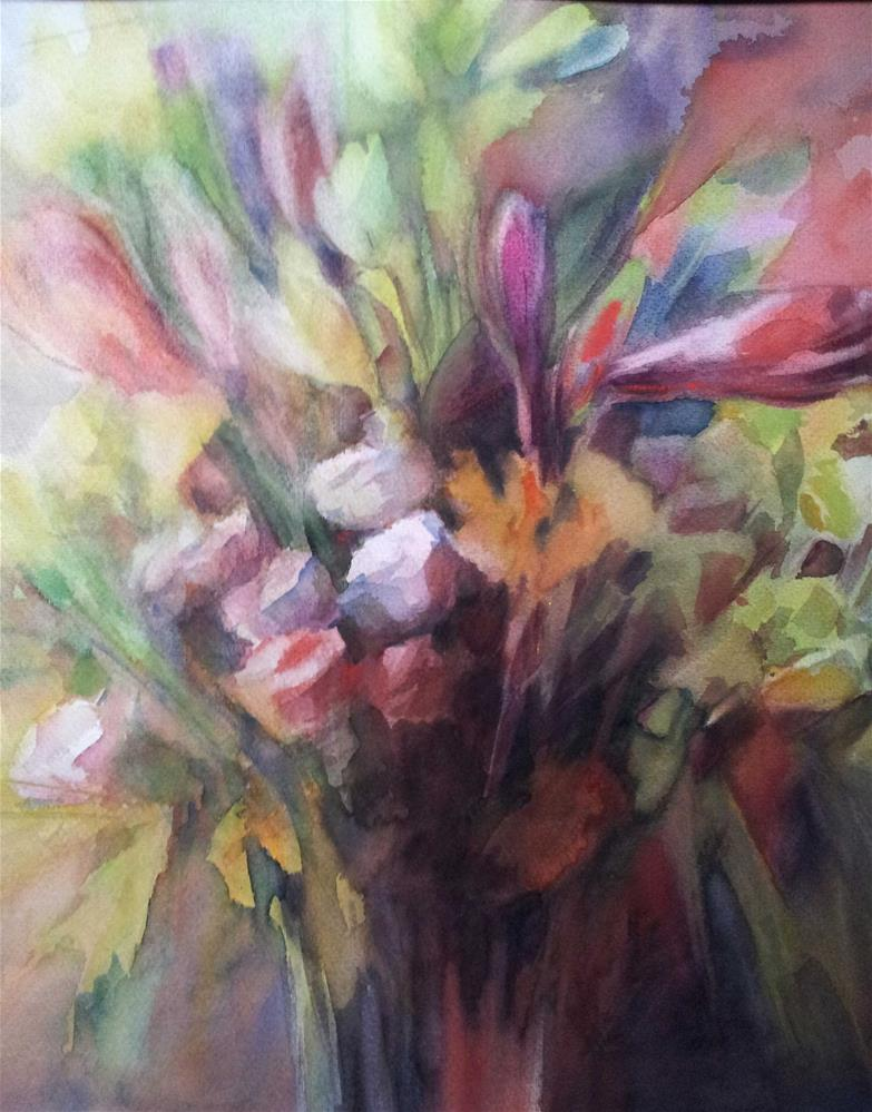 """Amaryllis bouquet"" original fine art by Olga Touboltseva-Lefort"