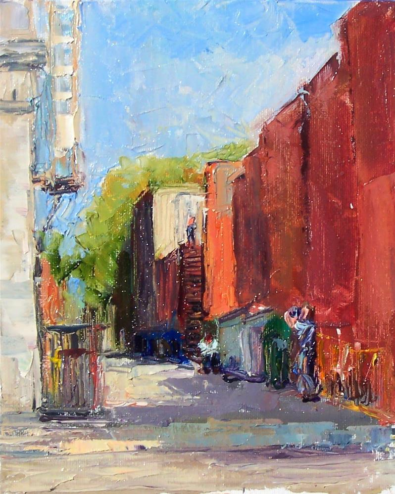 """Alley People,cityscape,oil on canvas board,10x8,price$250"" original fine art by Joy Olney"