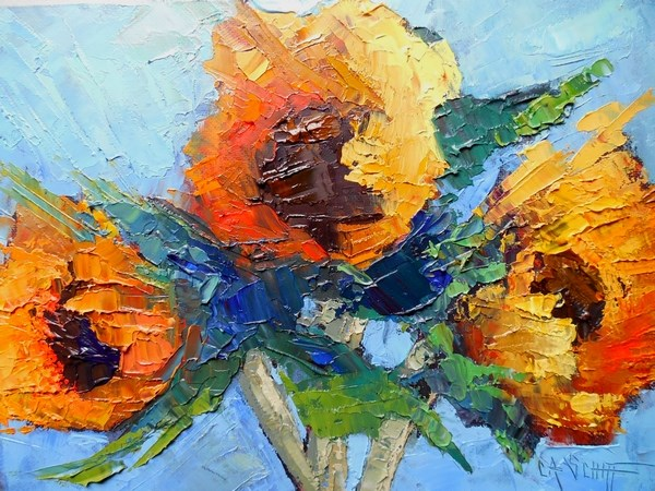 """Daily Painting, Floral Art, Small Oil Painting, Sunflower Painting, SunnyFlowers by Carol Schiff,"" original fine art by Carol Schiff"
