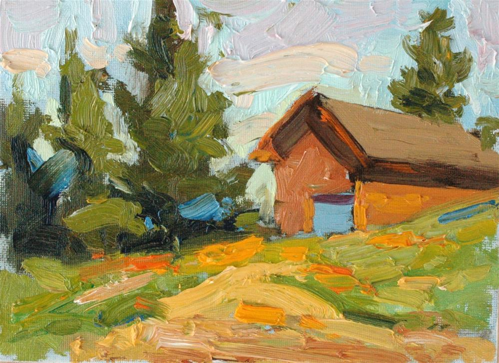 """Mountain Cabin"" original fine art by Michael Clark"