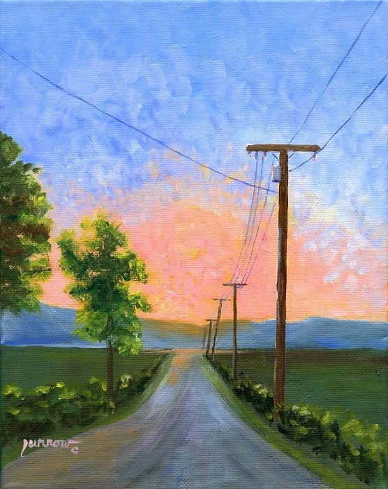 """ORIGINAL PAINTING SUNSET WITH UTILITY POLES"" original fine art by Sue Furrow"