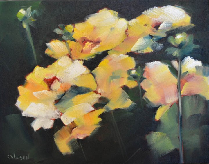 """Ft Bragg Dahlias"" original fine art by Cheryl Wilson"