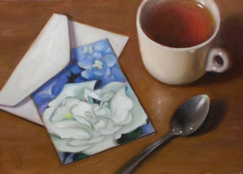 """Tea and Note Card"" original fine art by Debra Becks Cooper"