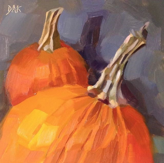"""Pair Of Pumpkins"" original fine art by Deborah Ann Kirkeeide"