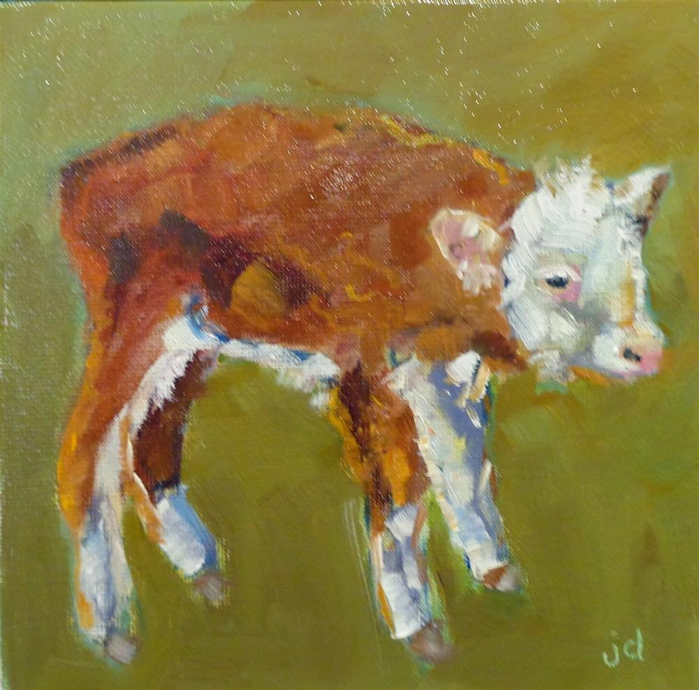 """Cow 26...Little miss"" original fine art by Jean Delaney"