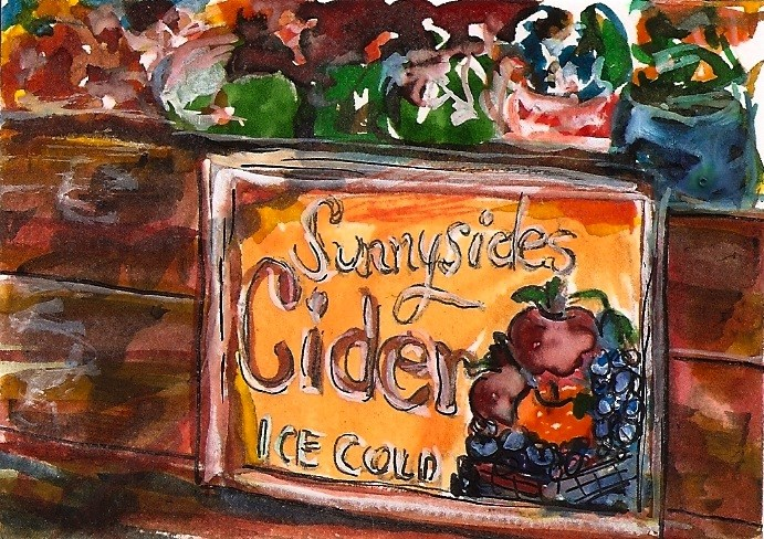 """ACEO Sunnyside Cider Box Label watercolor pen and ink by Penny StewArt"" original fine art by Penny Lee StewArt"