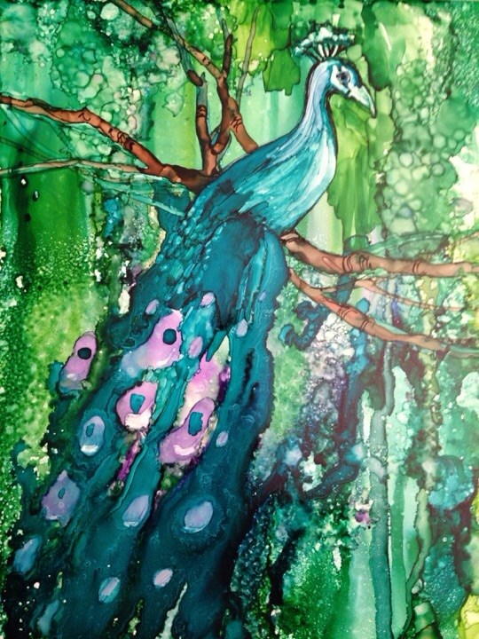 """Peacock"" original fine art by Margie Whittington"