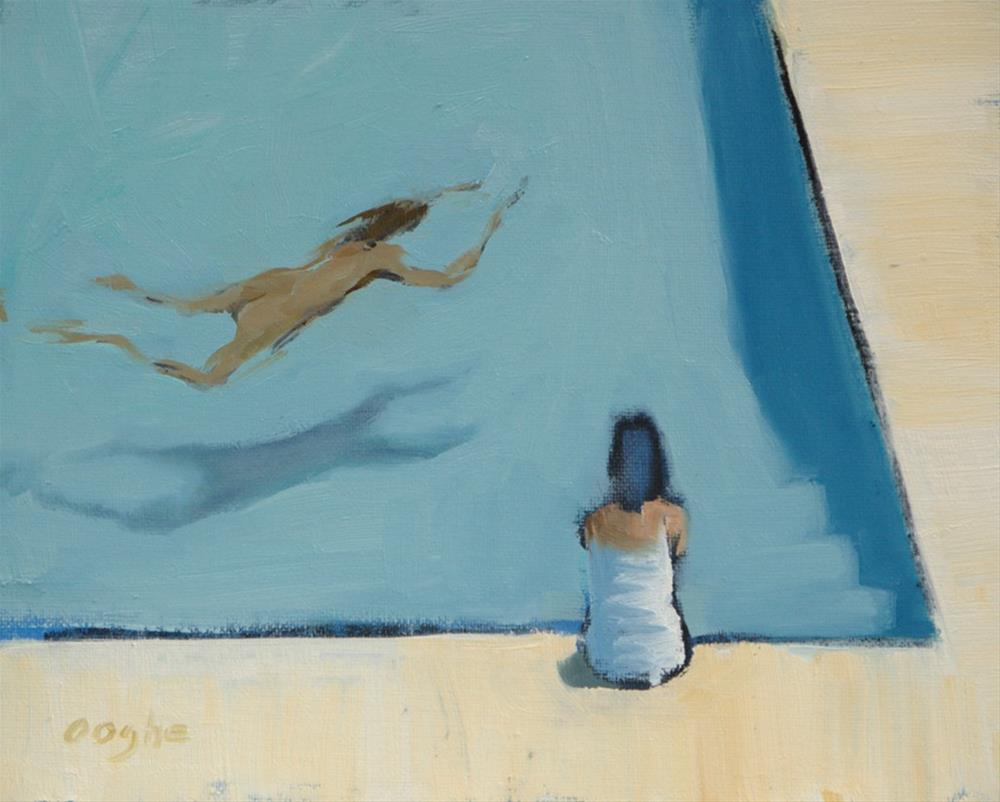 """Sitting by the Pool"" original fine art by Angela Ooghe"