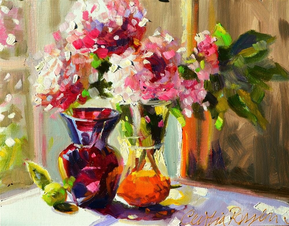 """PEONIES IN MIDDAY SUN"" original fine art by Cecilia Rosslee"