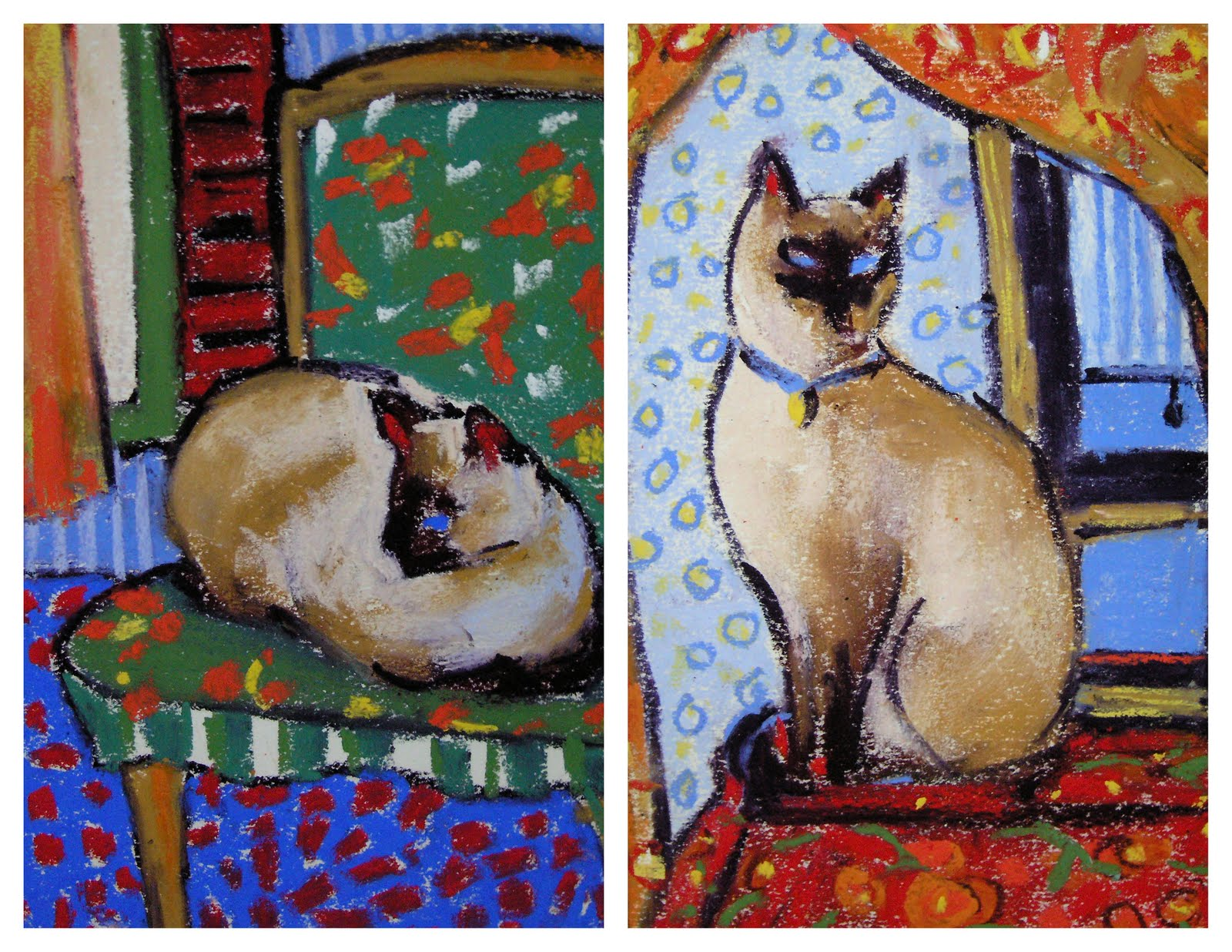 """We are Siamese....Siamese Cat Paintings"" original fine art by Karen Margulis"