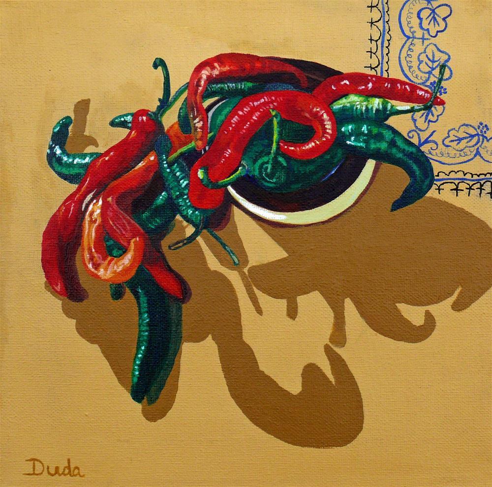 """Red or Green"" original fine art by Susan Duda"