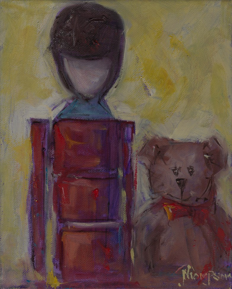 """Toy Soldier and Bear "" original fine art by Norma Thompson"