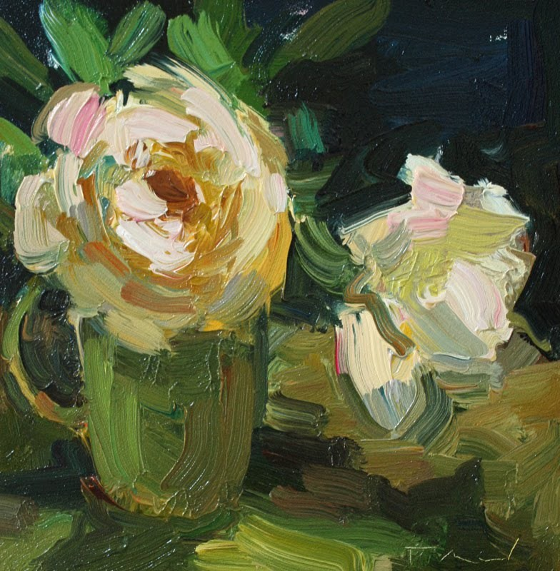 """Two White Roses"" original fine art by Kathryn Townsend"