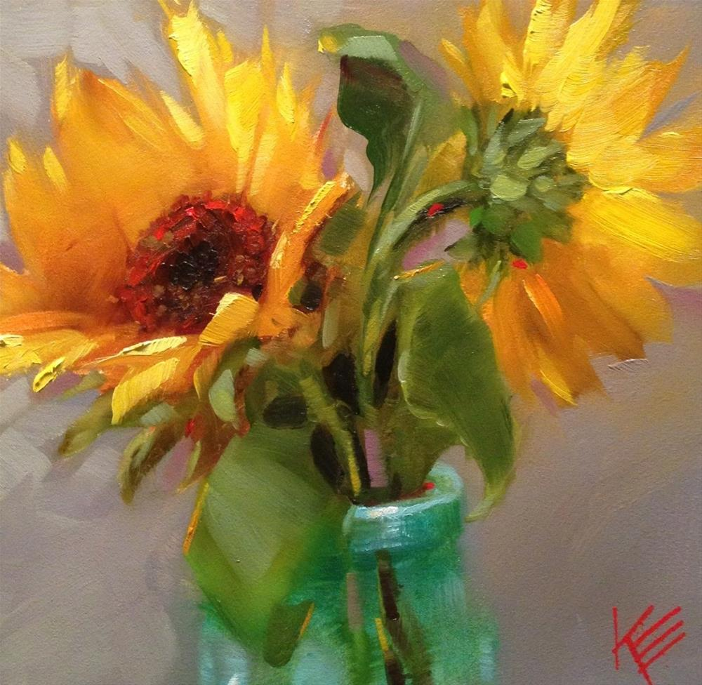 """Sunflowers in Blue"" original fine art by Krista Eaton"