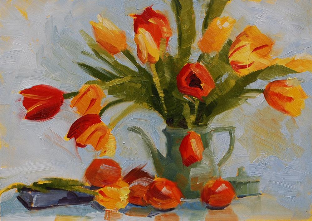 """Tulips in a Teapot"" original fine art by Susan McManamen"
