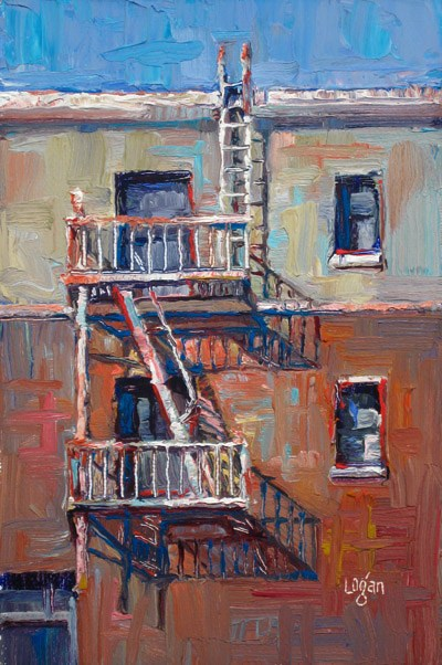 """Temple Fire Escape"" original fine art by Raymond Logan"