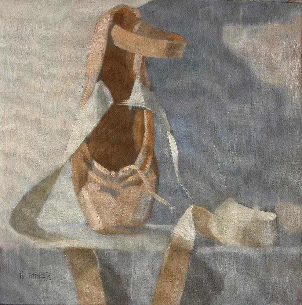 """One on pointe 8x8 oil"" original fine art by Claudia Hammer"