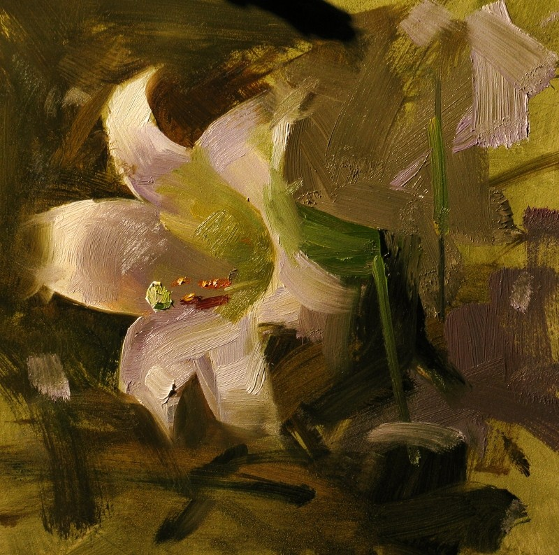 """Lily in a Bowl of Gumbo"" original fine art by Qiang Huang"