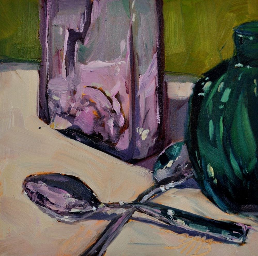 """Pink n' Green"" original fine art by Brienne M Brown"
