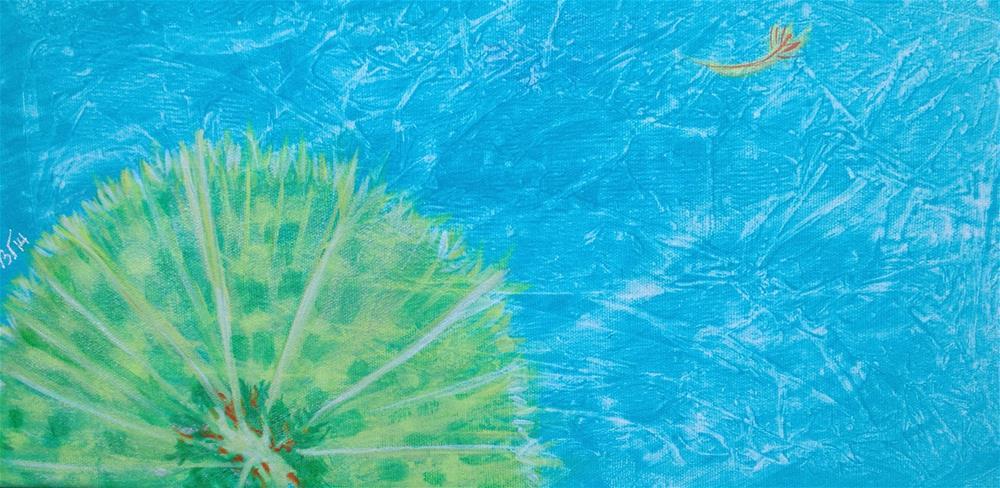 """""""Dandelion - turquoise"""" original fine art by Bev Thibault"""