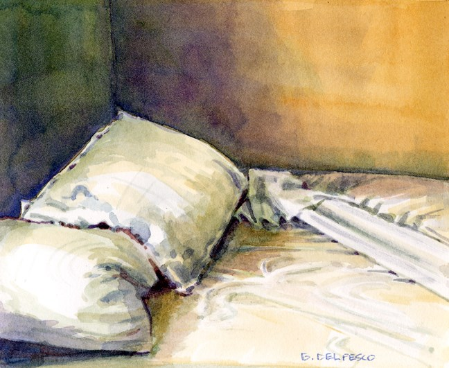 """Watercolor: Warm Sheets (back from San Diego Artwalk)"" original fine art by Belinda Del Pesco"