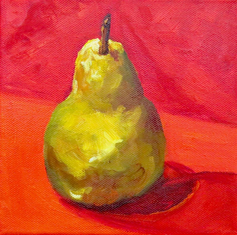 """""""Pear on Red"""" original fine art by Deborah Czernecky"""