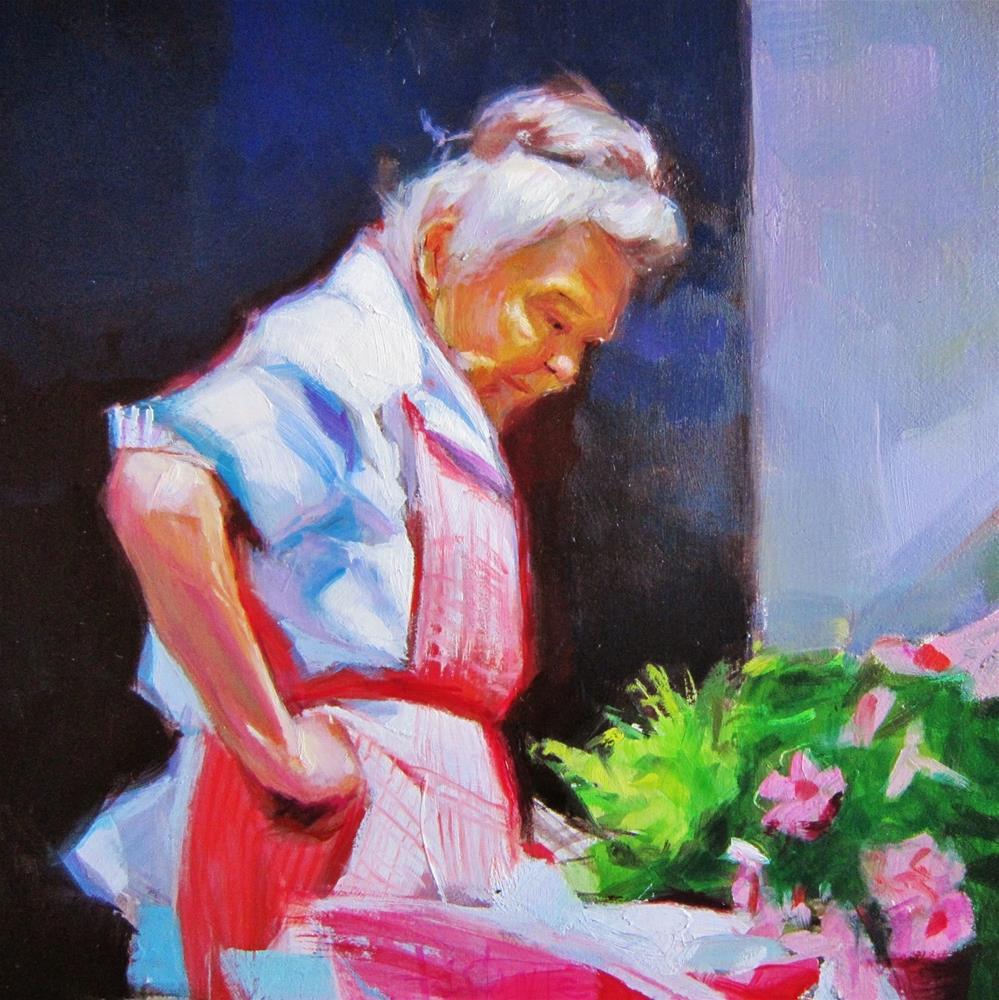 """Flower vendor"" original fine art by Víctor Tristante"