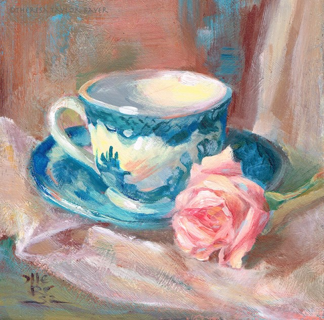 """Teacup and Rose - Theresa Taylor Bayer"" original fine art by Theresa Taylor Bayer"